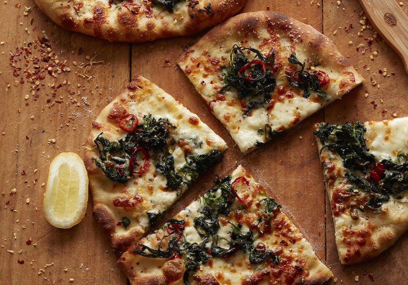 White Pizza with Spinach, Red Chili and Lemon