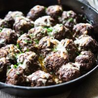 French Onion Skillet Meatballs