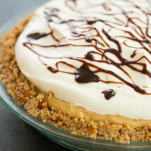 Chocolate Peanut Butter Banana Cream Pie with Pretzel Crust