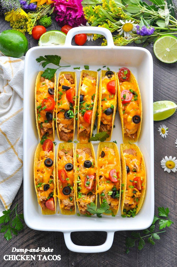 Dump-and-Bake Chicken Tacos