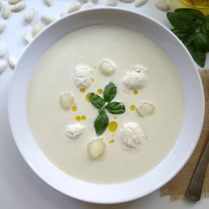 White Garlic Soup with Basil-Infused Olive Oil Ice Cream