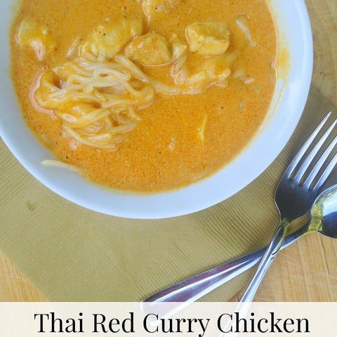 Thai Red Curry Chicken with Rice Noodle {Trader Joe's Recipe}