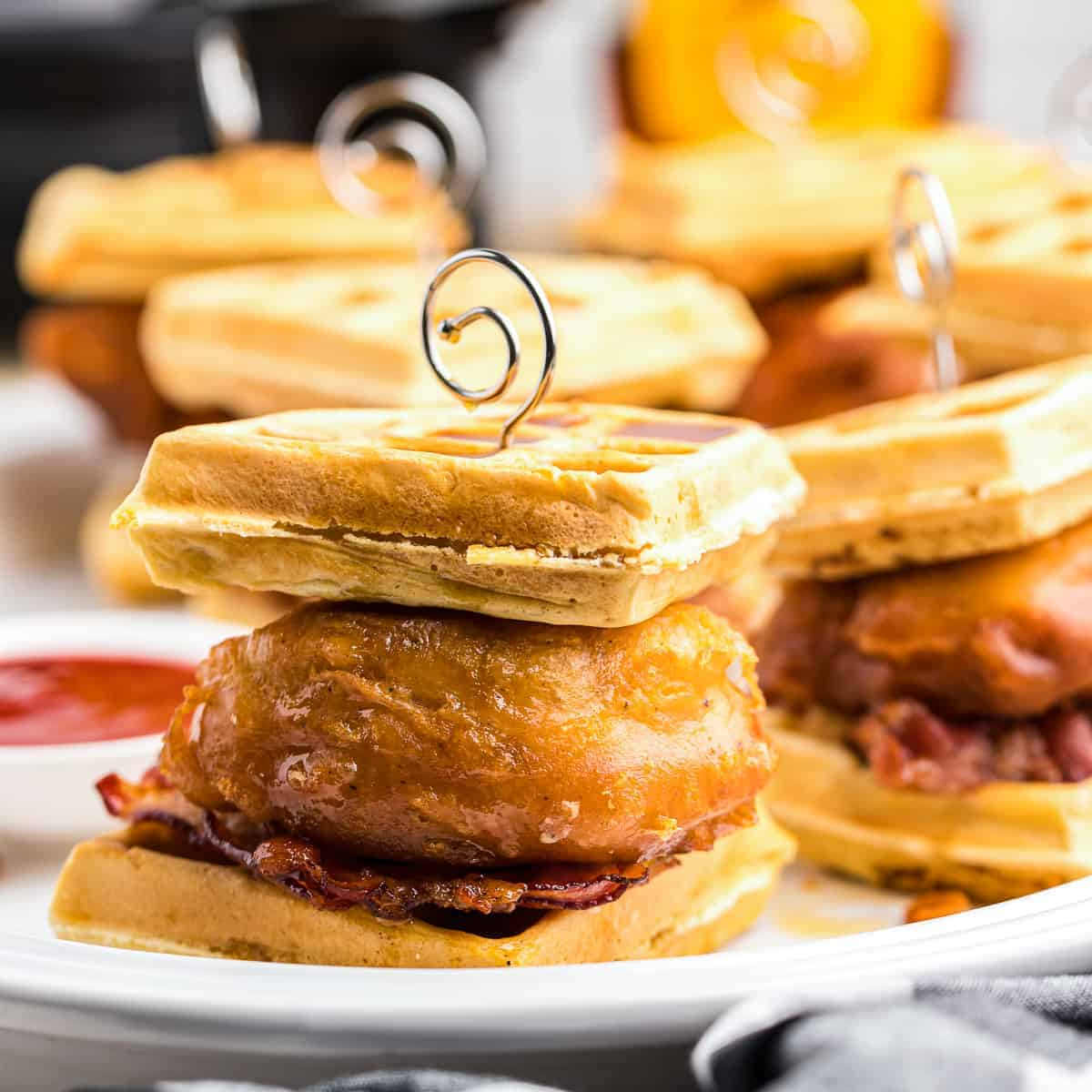 Chicken and Waffle Sliders with Bacon