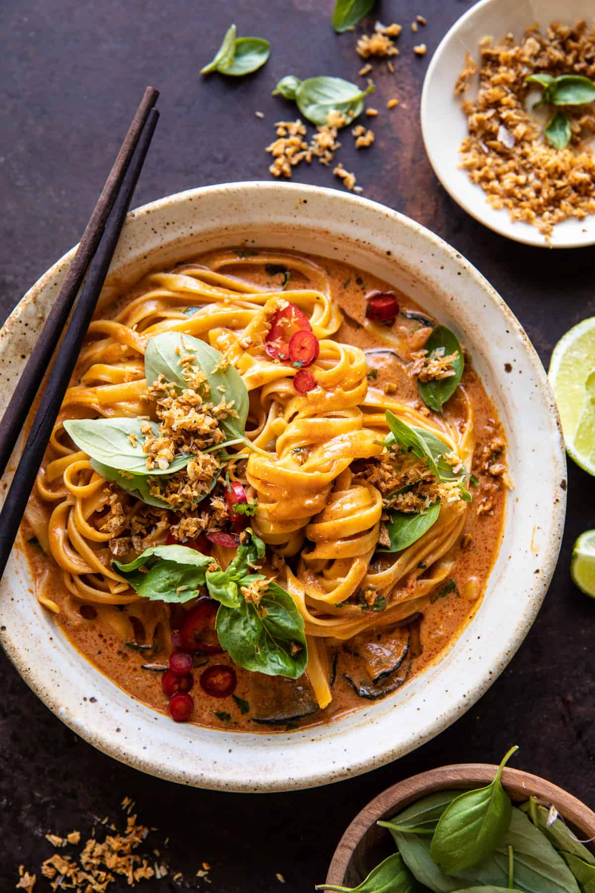 20 Minute Red Curry Noodles with Fried Coconut Garlic