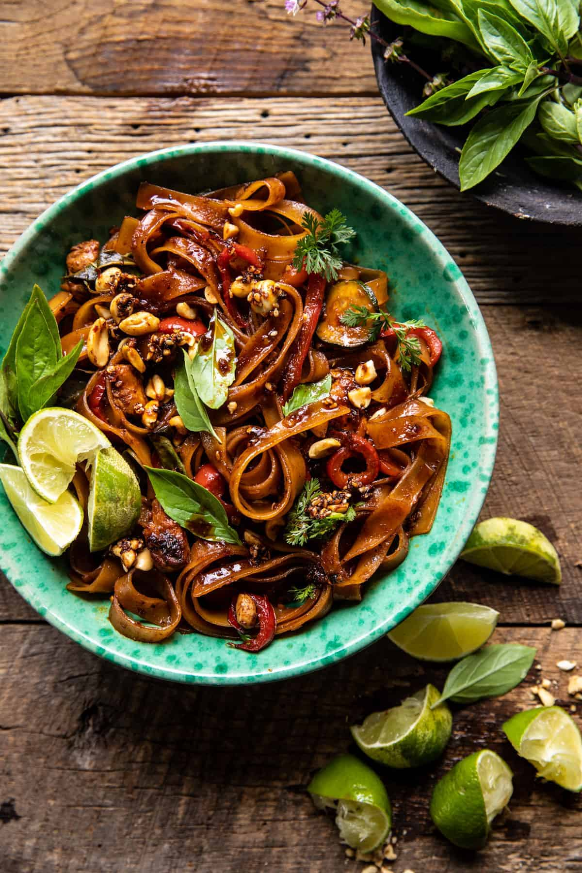 Saucy Thai Summer Noodle Stir Fry with Sesame Peanuts