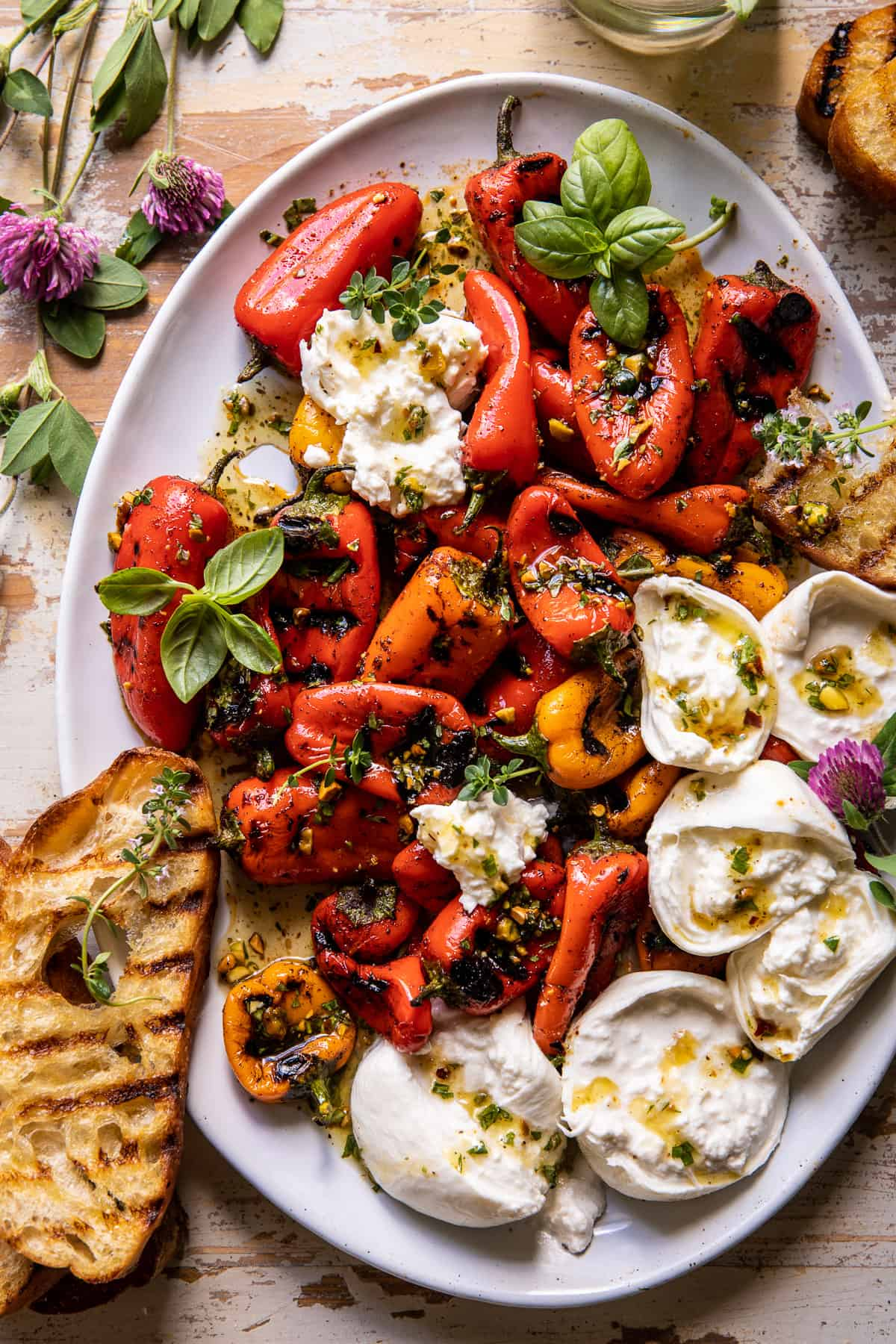 Charred Baby Bell Peppers with Burrata