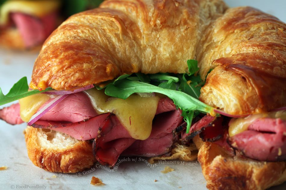 Grilled Gouda Cheese with Pear, Smoked Ham Croissant Sandwich